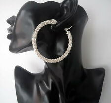 Stunning 6.5cm large silver & full diamante - crystal hoop earrings - Big hoops
