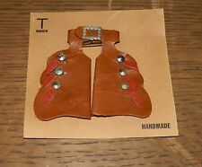 Vintage MINIATURE Leather CHAPS Handmade BROOCH Pin T Ranch