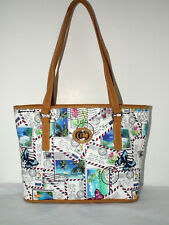 Sz LG Carryland Postcard Tote w/ Beaches/Post Cards/Butterflies 3 Sections NWT