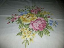 Vintage White Tablecloth 44 x 46 Cross Stitched Pink Yellow Roses Flowers NICE