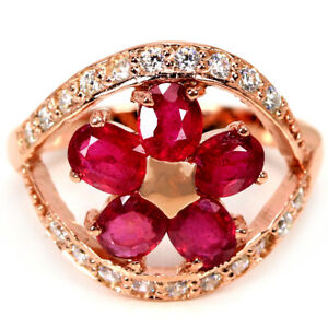 GENUINE AAA BLOOD RED RUBY OVAL & WHITE CZ STERLING 925 SILVER FLOWER RING 7