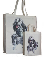 More details for english setter dog adult & child shopping or dog treats packed lunch tote bag