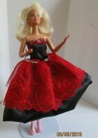 Barbie original doll blonde hair black & red dress & high heel shoes