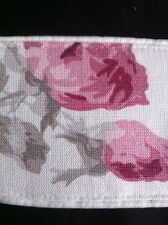 "LAURA ASHLEY ROSES CASSIS 1pr Tie-Backs 26"" Piped  NEW piped top & bottom"