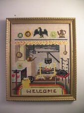 Vintage Needlepoint Picture WELCOME Sign Rustic Farmhouse Kitchen Wall Decor