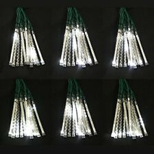 White LED Meteor Snow Fall / Snowing Effect Icicle Xmas Lights, 72 Tube Set