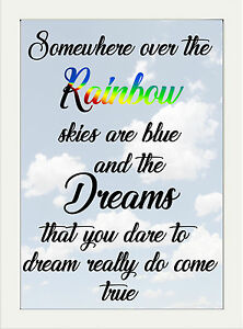 INSPIRATIONAL TYPOGRAPHY QUOTE SOMEWHERE OVER THE RAINBOW DREAMS A4 POSTER PRINT