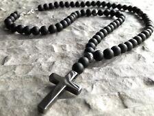 Halskette mit Kreuz Hämatit Onyx perlen Edelstein Cross Necklace Rosenkranz