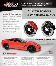 Wilwood AERO6 Front Big Brake Kit,2014-2019 C7 Corvette,Red 6 Piston Calipers