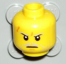 LEGO Yellow Minifig Head Gray Moustache Dual Sided Agent Solomon Blaze 70172