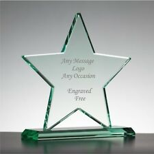 Personalised Engraved Jade Glass Star Trophy Staff Award, Corporate Gift,