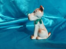 Funny Porcelain Green eyed dog w green nose and bow Terrier whimsical St Patrick