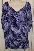 Womens East 5th Purple Black White Stretchy Blouse Top Shirt Size 2X