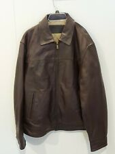 New CHAPS Mens Smooth Leather Dark Brown Bomber Jacket Coat Zipper Front Size L