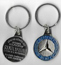 MERCEDES BENZ AUTO CAR BRAND FACTURE HEAVY METAL KEYCHAIN OLD