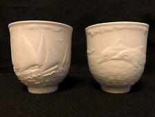 Lladro Collectors Society Daisa Matte White 1997 & 1998 Porcelain Vases