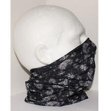 Tube Snood Scarf Black White Paisley Rose Biker Mask for under Helmet Ski Jogger