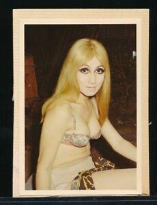 1960s Original Sexy Color Snapshot Photo Blonde Exotic Dancer Backstage vv