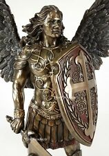 "14"" Saint Michael ARCHANGEL W Sword & Battle Shield Statue Bronze Color Angel"
