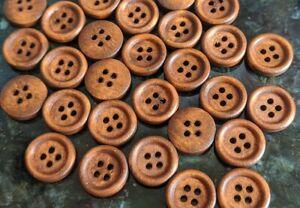 20 Plain wooden round buttons - Medium wood colour 15mm