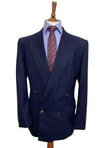 Gentlemans Vintage 42 Short Double Breasted Navy Pure Wool Winter Weight Blazer