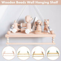 Wooden Nordic Style Hanging Tassel Bead Storage Wall Shelf Nursery Kids Bedroom