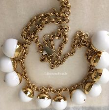 NWT Authentic J Crew Beaded gold necklace White & J Crew Dust Bag