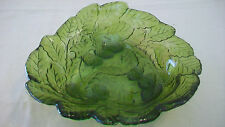 VINTAGE GREEN GLASS BOWL WITH LEAVES AND GRAPES, SCALLOPPED EDGES