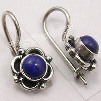 "925 Silver LAPIS LAZULI AMAZING Dangle Earrings 0.7"""
