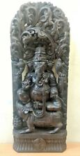 Ganesh Sculpture Hindu God Ganesha Statue Handcarved Wooden Figurine Yoga Murti