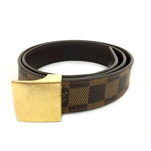 Louis Vuitton Damier Ceinture Brown Leather 75cm Mens Belt /B2511