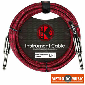 """Kirlin 10ft Red Woven Guitar Bass Instrument Cord Cable 20AWG 1/4"""" Free Tie NEW"""