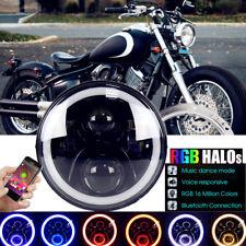 7'' LED RGB Headlight For Yamaha V-Star XVS 650 950 1100 1300 Classic Stryker