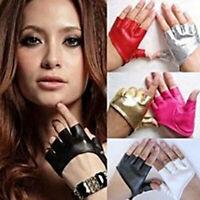Women Short Leather Gloves Half Fingerless Dance Stage Driving Punk Biker Mitten