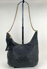 Gucci Soho Pebbled Black Leather Calfskin Hobo Shoulder Bag 308981 Auth B276