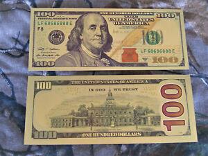 10 Gold 24K Foil Banknote Reserve Paper $100 Dollar Bill Currency Money Federal