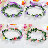 Sweet Girls Women Rose Flower Crown Headband Wreath Party Wedding Headwear lj