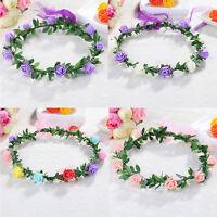 Sweet Girls Women Rose Flower Crown Headband Wreath Party Wedding Headwear LN