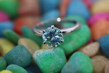 2.3 CT 8.9 MM Vivid blue color VVS1 round moissanite 925 silver engagment ring