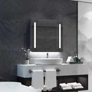 LED Bathroom Mirror Cabinet With Shaver Socket Storage/Demister/Sensor Switch..