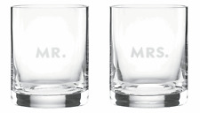 Kate Spade Darling Point Mr and Mrs.Double Old-Fashioned Crystal Glasses Set/2