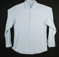 Men's Mizzen+Main Trim Fit Light Blue Check Button Down Shirt Size XL Stretch