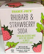 TRADER JOE'S RHUBARB & STRAWBERRY SODA 4 - 8.4 FL OZ CANS KOSHER