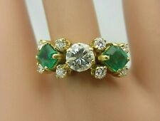 18K Yellow Gold Emerald and Diamond Ring 2.00 CT TW