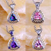 Amethyst Rainbow & Pink Topaz Gemstone Silver Necklace Pendant Triangle Cut Gift
