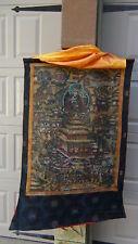 ANTIQUE 18C-19C TIBETIAN  HAND PAINTED THANKA ON FABRIC ,BUDDHIST TEMPLE SCENE#2