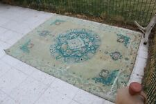 """Vintage Handmade Turkish Oushak Blue Area Rug 70""""x53"""""""