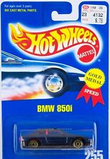 Hot Wheels Collector No. 255 BMW 850i Blue w/ Gold UH's Clear Windows 1995