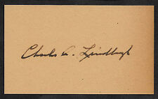 Charles Lindbergh Autograph Reprint On Genuine Original Period 1920s 3X5 Card