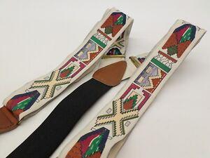 Crookhorn Davis Suspenders Southwestern Native American Braces Silk Leather